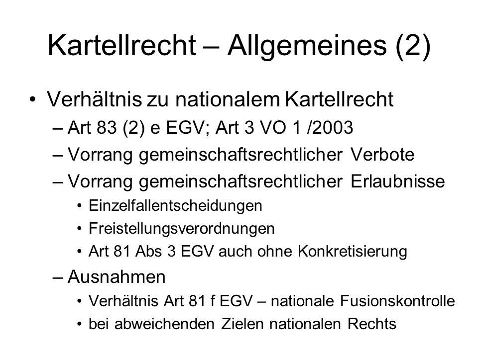 Kartellrecht – Allgemeines (2)