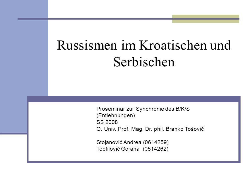 Russismen im Kroatischen und Serbischen
