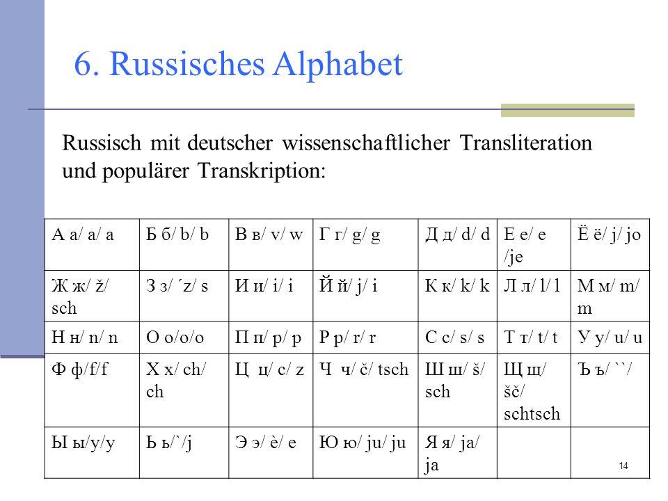 6. Russisches Alphabet Russisch mit deutscher wissenschaftlicher Transliteration und populärer Transkription: