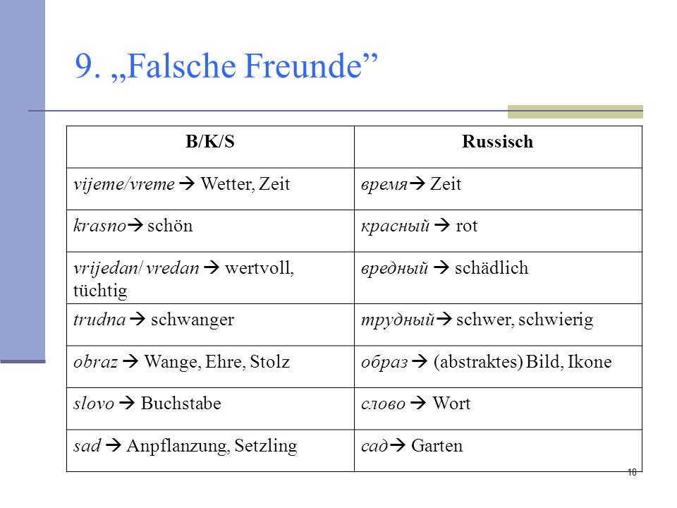 "9. ""Falsche Freunde B/K/S Russisch vijeme/vreme  Wetter, Zeit"