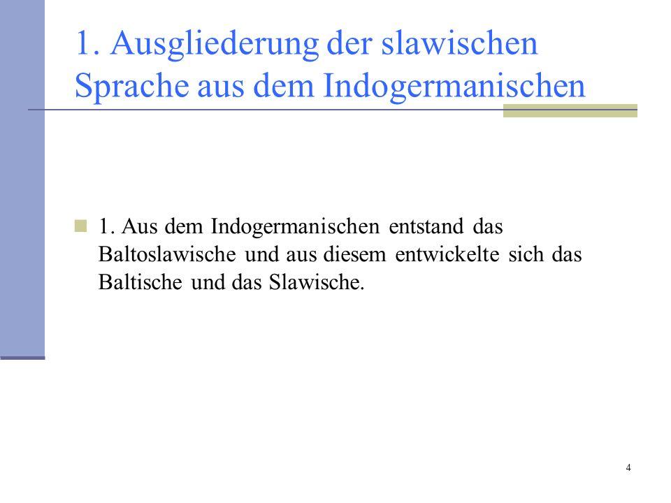 1. Ausgliederung der slawischen Sprache aus dem Indogermanischen