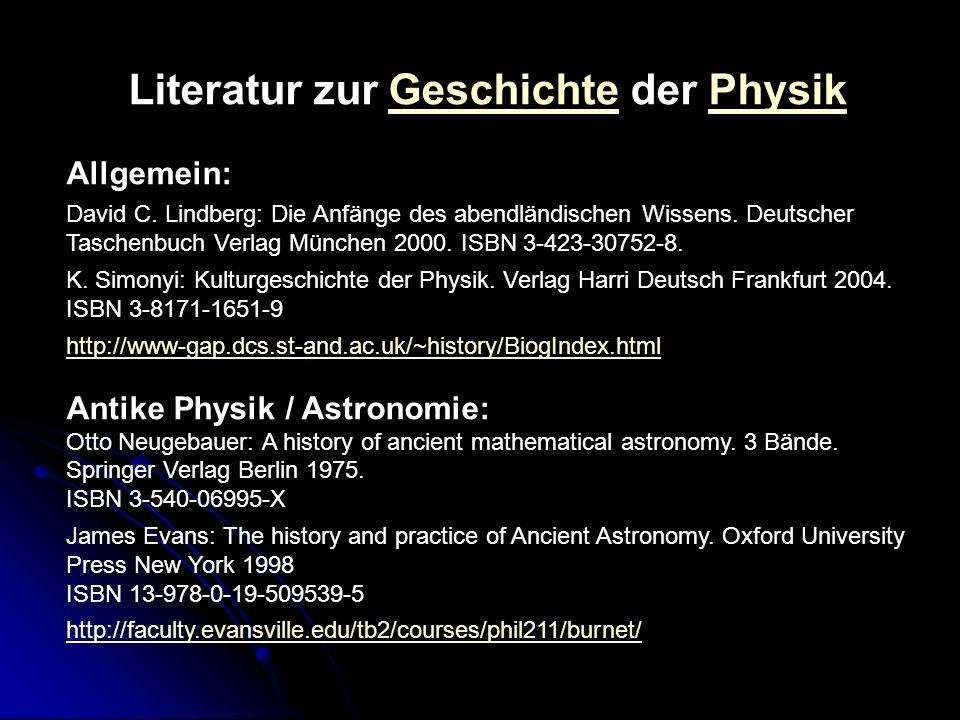Literatur zur Geschichte der Physik