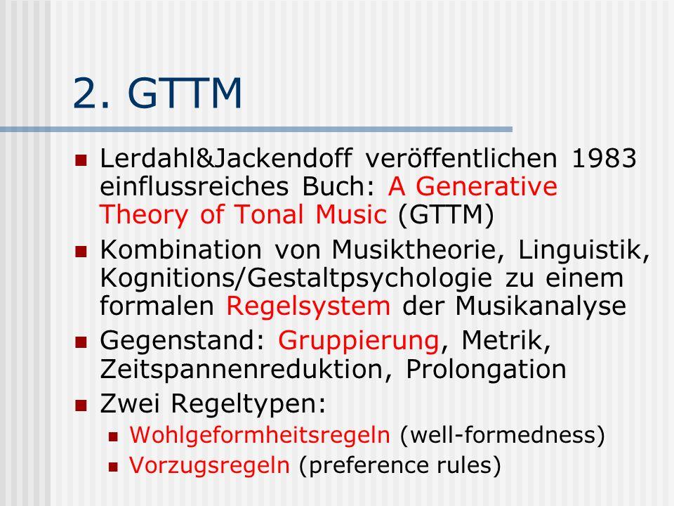 2. GTTM Lerdahl&Jackendoff veröffentlichen 1983 einflussreiches Buch: A Generative Theory of Tonal Music (GTTM)