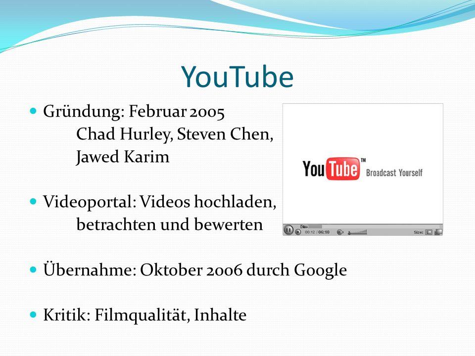 YouTube Gründung: Februar 2005 Chad Hurley, Steven Chen, Jawed Karim