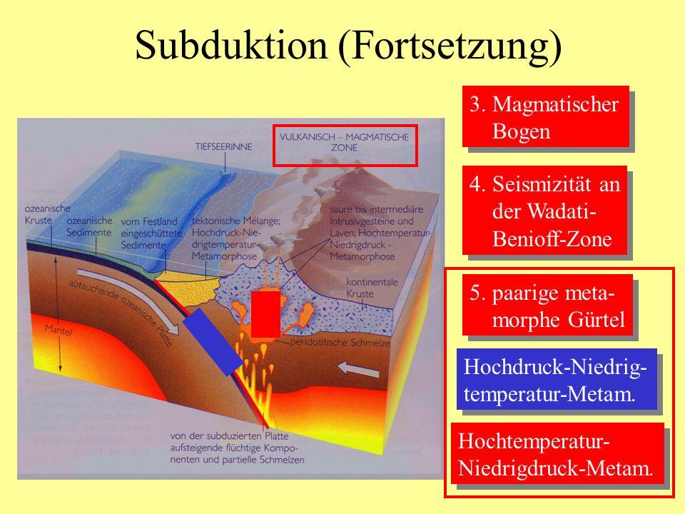 Subduktion (Fortsetzung)