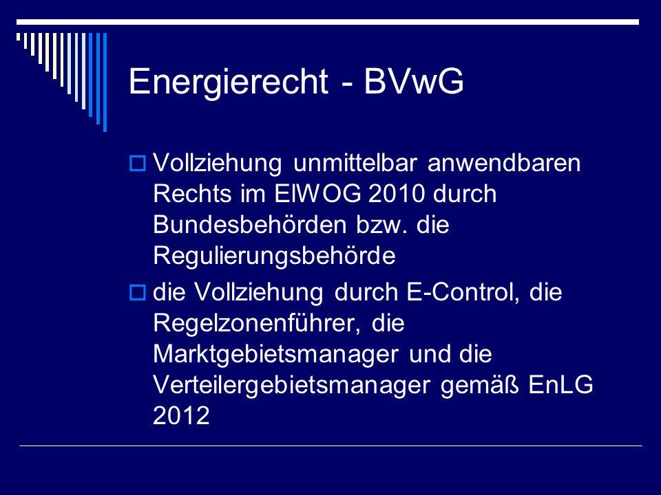 Energierecht - BVwG Vollziehung unmittelbar anwendbaren Rechts im ElWOG 2010 durch Bundesbehörden bzw. die Regulierungsbehörde.