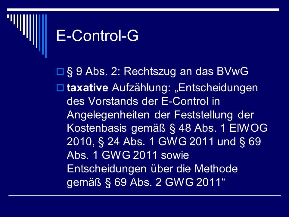 E-Control-G § 9 Abs. 2: Rechtszug an das BVwG