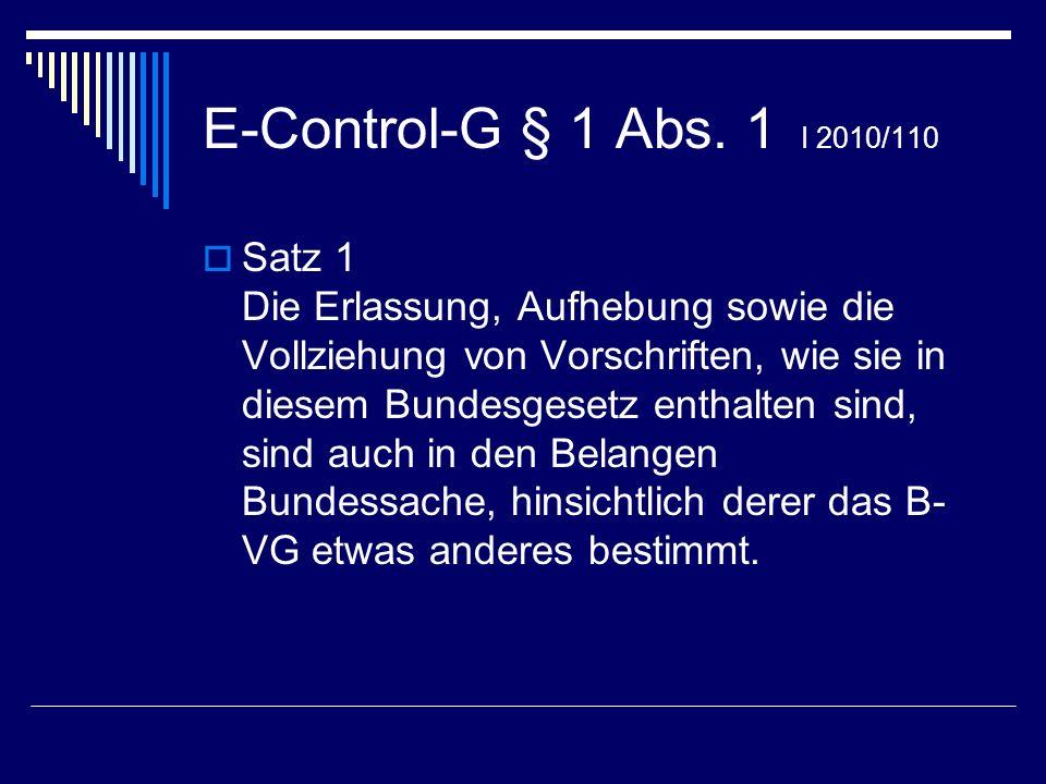 E-Control-G § 1 Abs. 1 I 2010/110