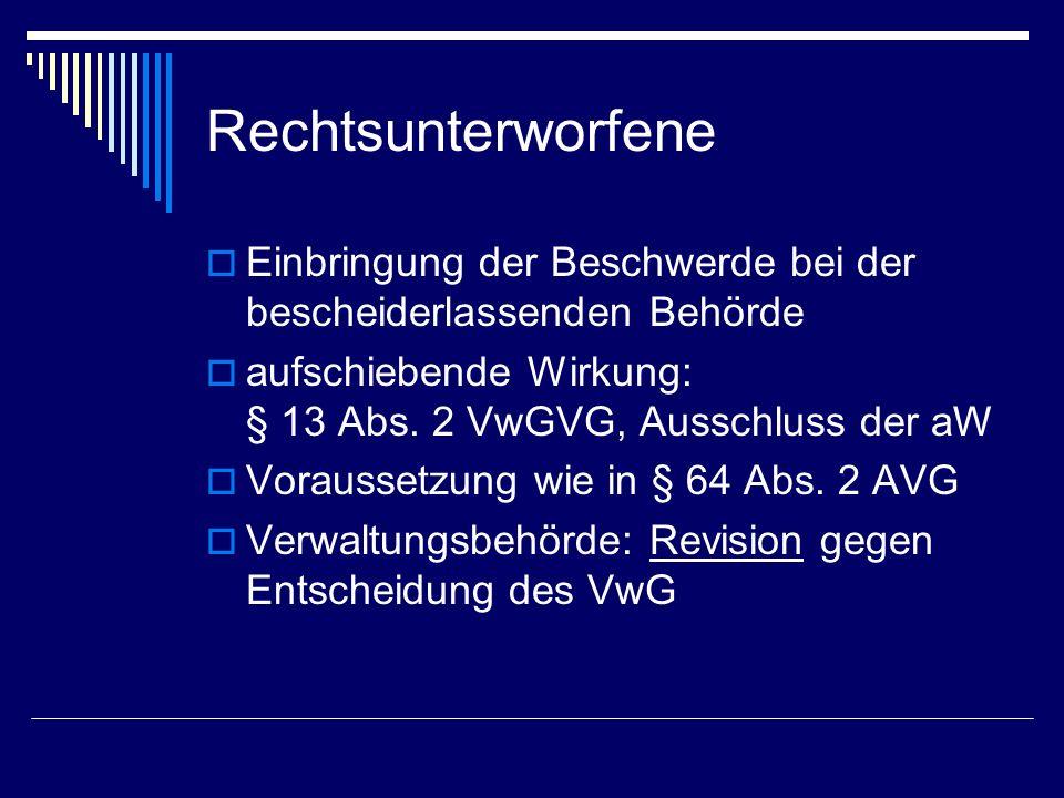 Rechtsunterworfene Einbringung der Beschwerde bei der bescheiderlassenden Behörde. aufschiebende Wirkung: § 13 Abs. 2 VwGVG, Ausschluss der aW.