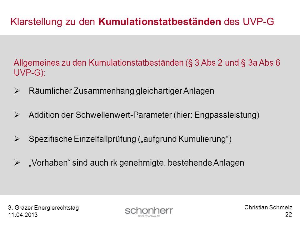 Klarstellung zu den Kumulationstatbeständen des UVP-G