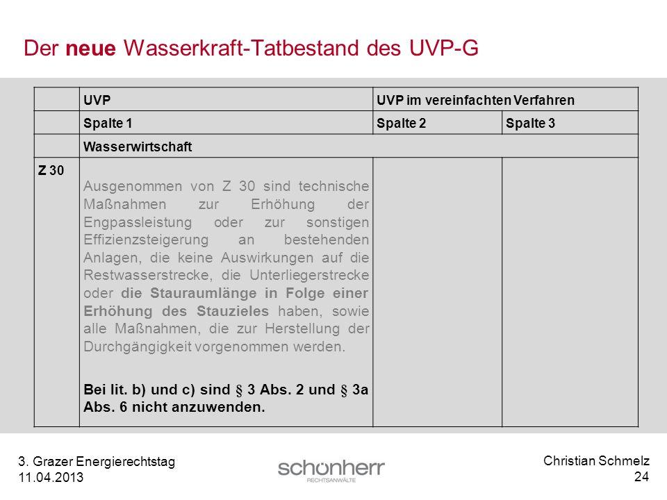 Der neue Wasserkraft-Tatbestand des UVP-G