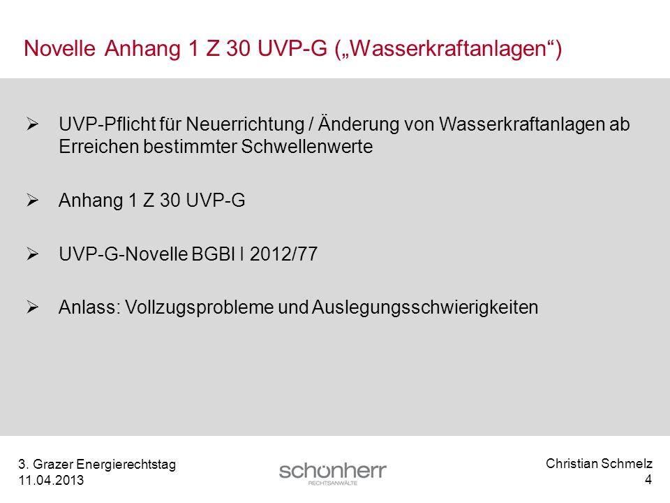 """Novelle Anhang 1 Z 30 UVP-G (""""Wasserkraftanlagen )"""