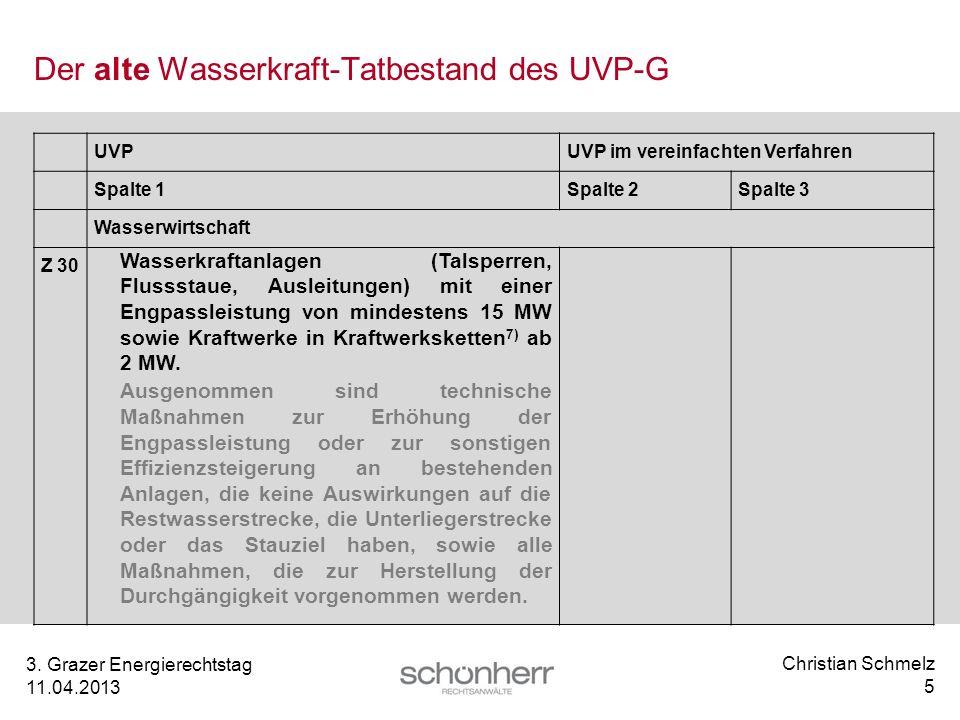Der alte Wasserkraft-Tatbestand des UVP-G