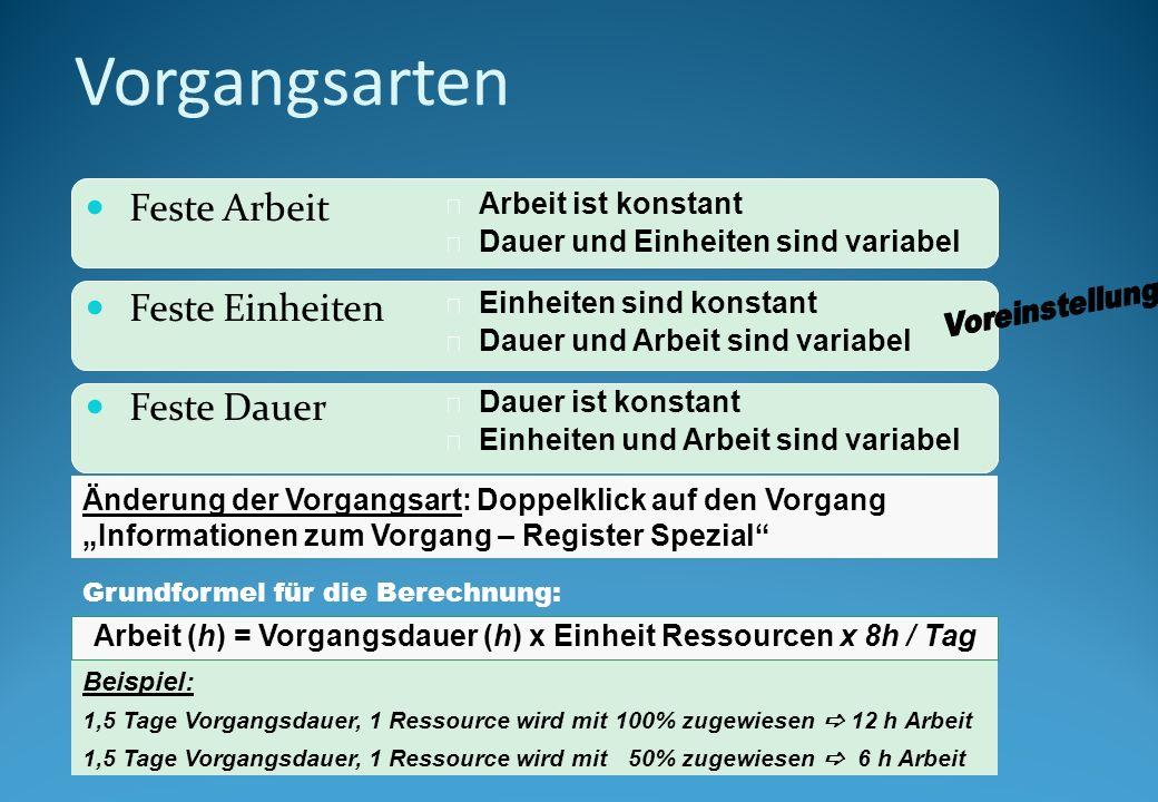 Arbeit (h) = Vorgangsdauer (h) x Einheit Ressourcen x 8h / Tag