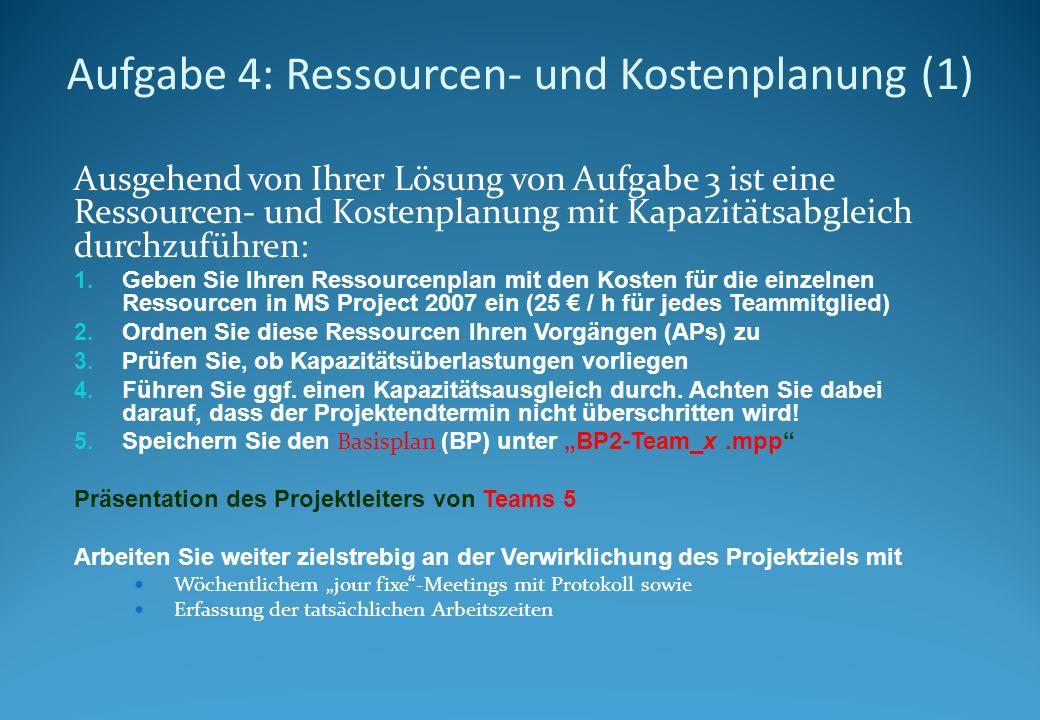 Aufgabe 4: Ressourcen- und Kostenplanung (1)