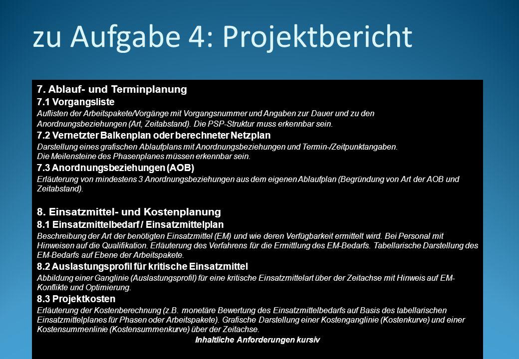 zu Aufgabe 4: Projektbericht