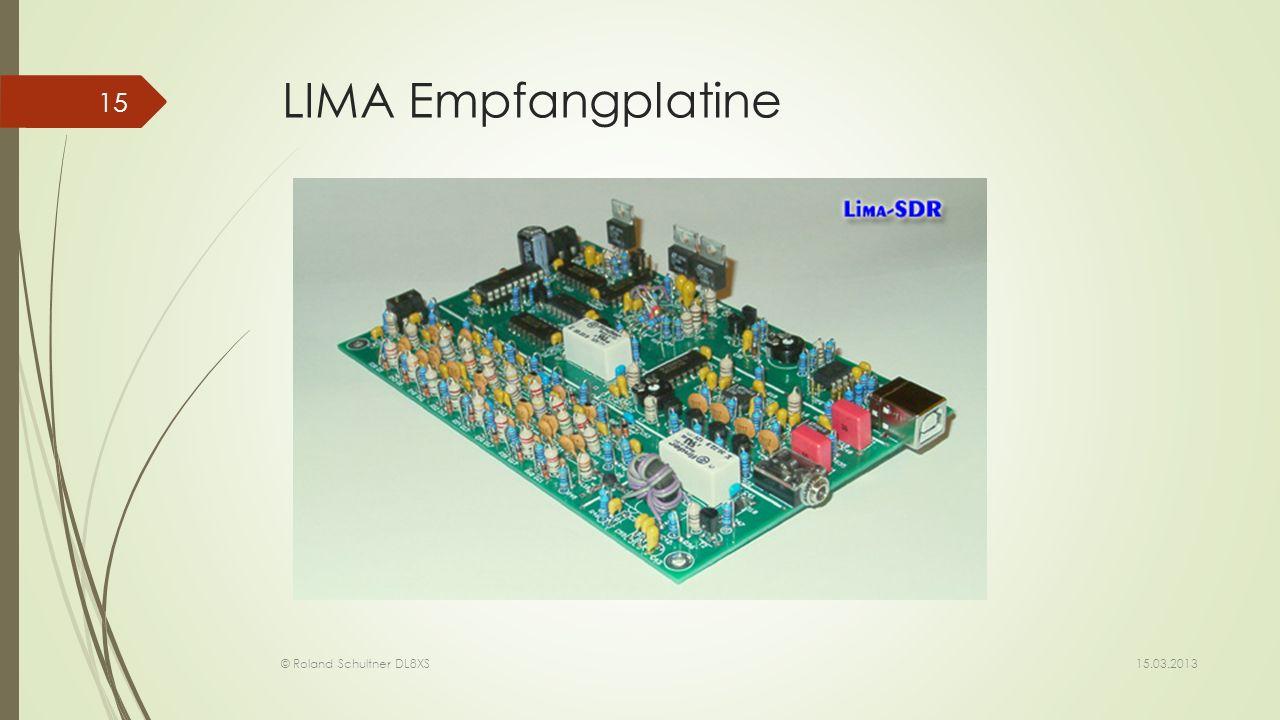 LIMA Empfangplatine RX Platine des LIMA mit den Preselectorfiltern am linken Rand. Die USB Buchse vom PC zur Steuerung der Funktionen.