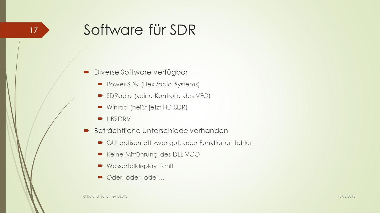Software für SDR Diverse Software verfügbar