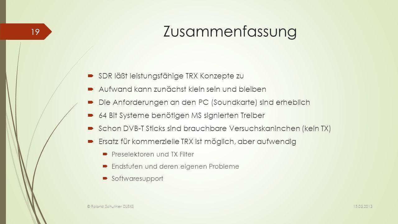 Zusammenfassung SDR läßt leistungsfähige TRX Konzepte zu