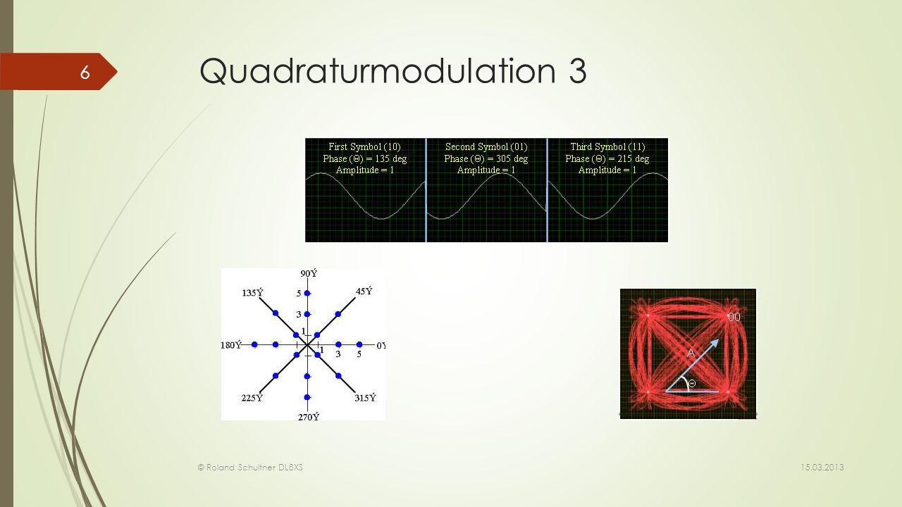 Quadraturmodulation 3Die verschiedenen Phasen/Amplitudenkostellationen stellen im digitalen Modus nun je ein diskretes Signal (einen Wert) dar.