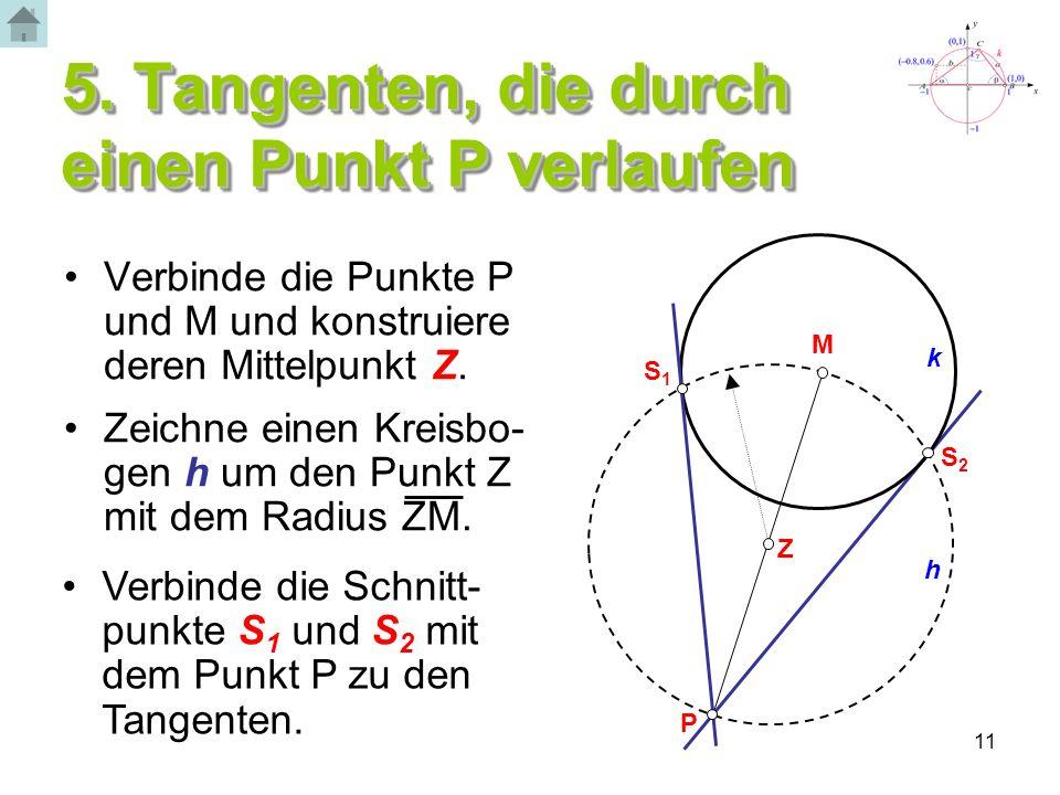 5. Tangenten, die durch einen Punkt P verlaufen