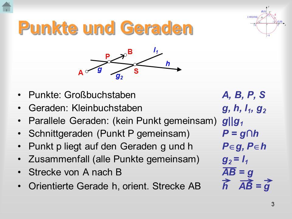 Punkte und Geraden Punkte: Großbuchstaben A, B, P, S