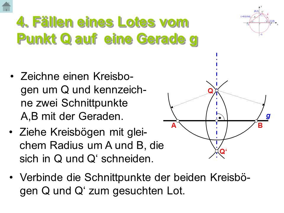 4. Fällen eines Lotes vom Punkt Q auf eine Gerade g