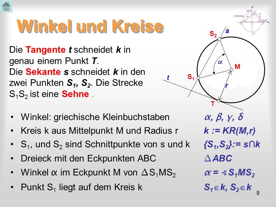 Winkel und Kreise Die Tangente t schneidet k in genau einem Punkt T.