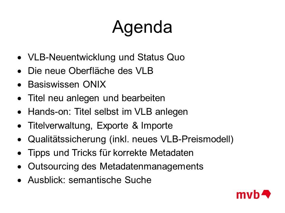Agenda VLB-Neuentwicklung und Status Quo Die neue Oberfläche des VLB