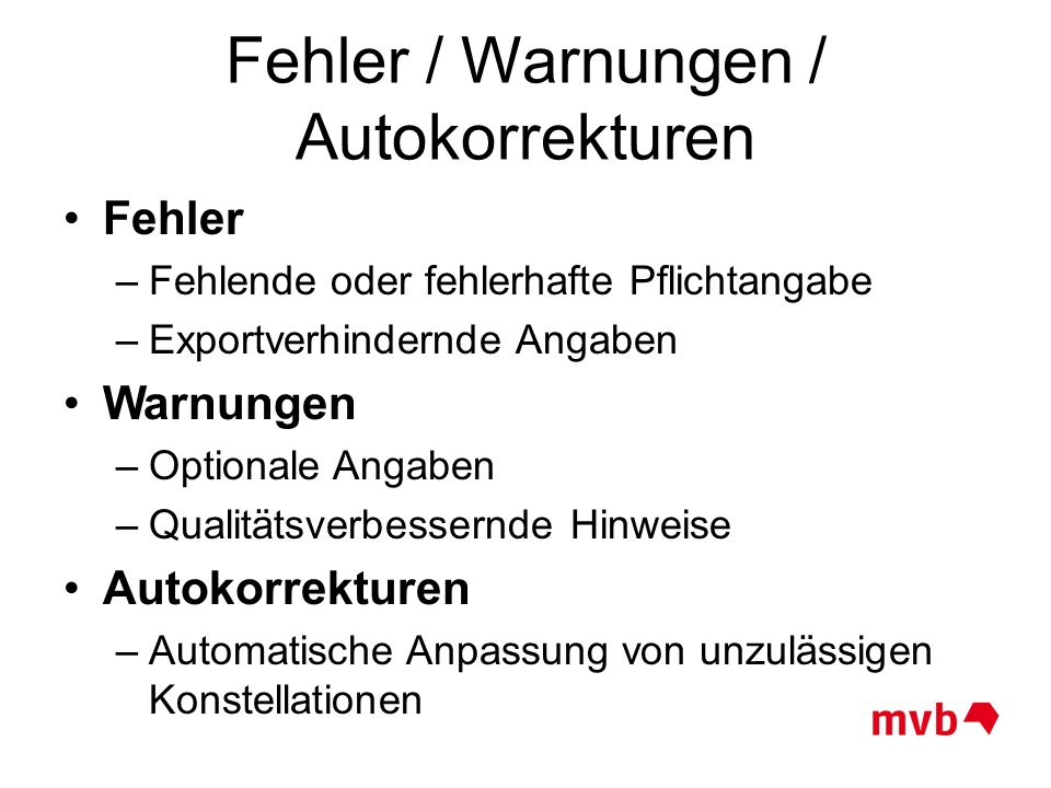 Fehler / Warnungen / Autokorrekturen