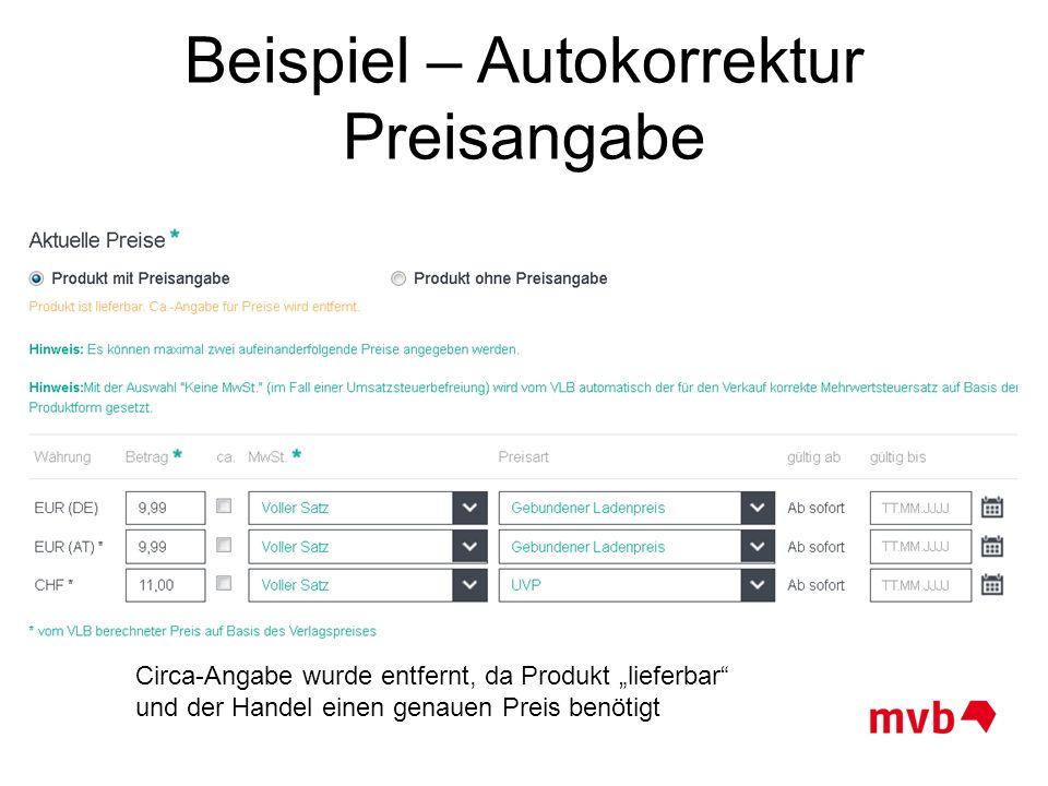 Beispiel – Autokorrektur Preisangabe