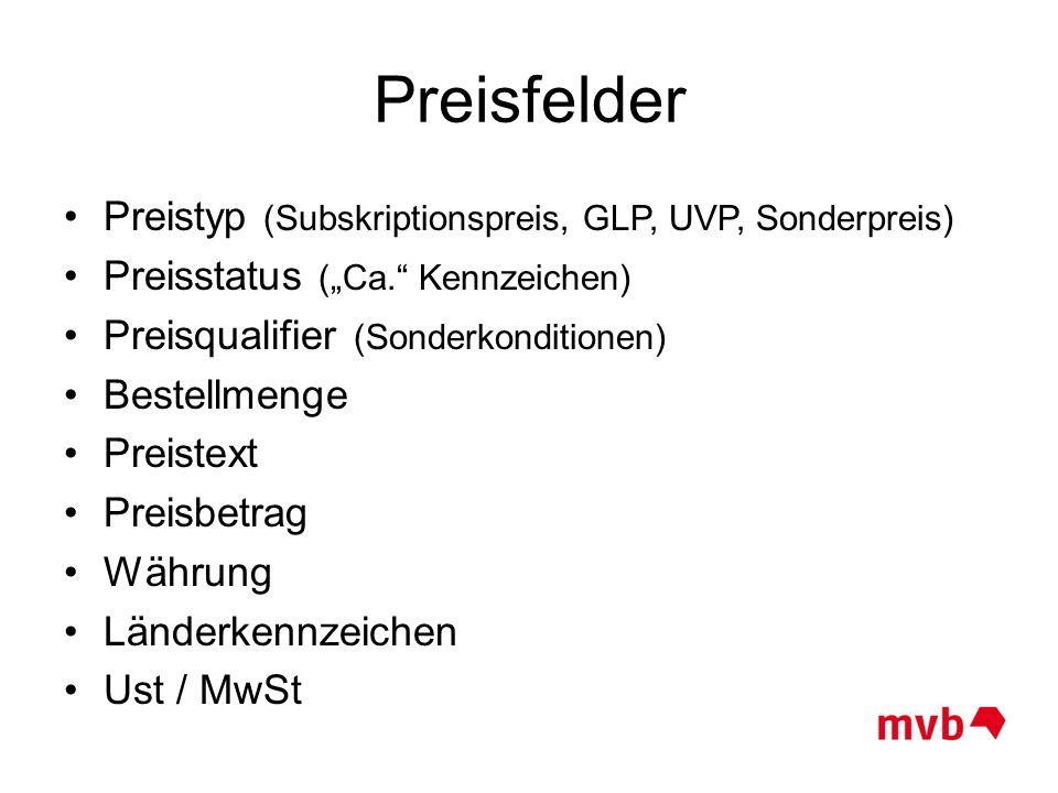 Preisfelder Preistyp (Subskriptionspreis, GLP, UVP, Sonderpreis)