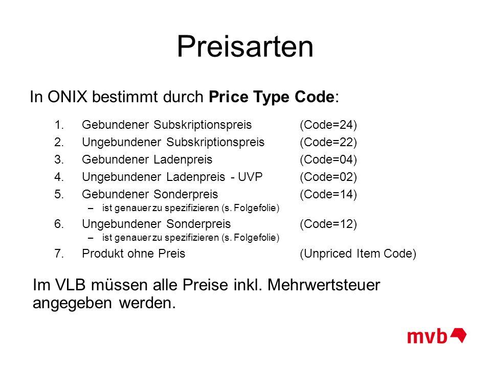Preisarten In ONIX bestimmt durch Price Type Code: