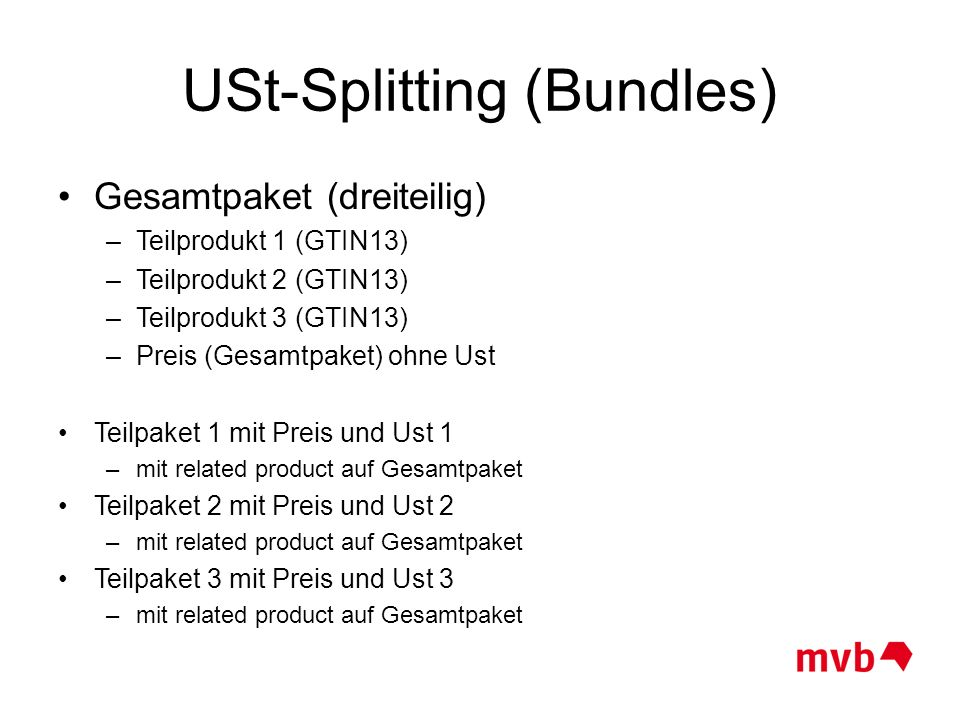 USt-Splitting (Bundles)