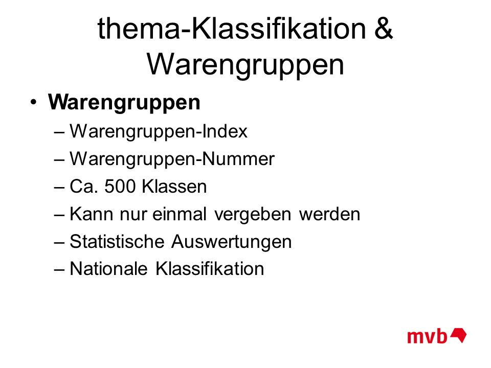 thema-Klassifikation & Warengruppen