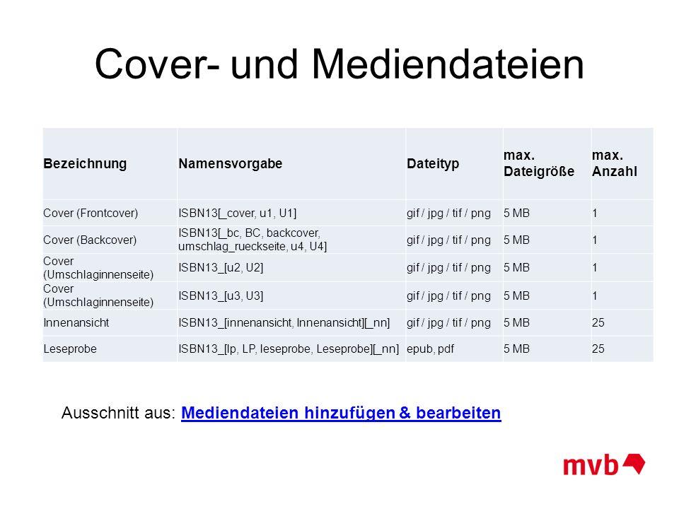 Cover- und Mediendateien