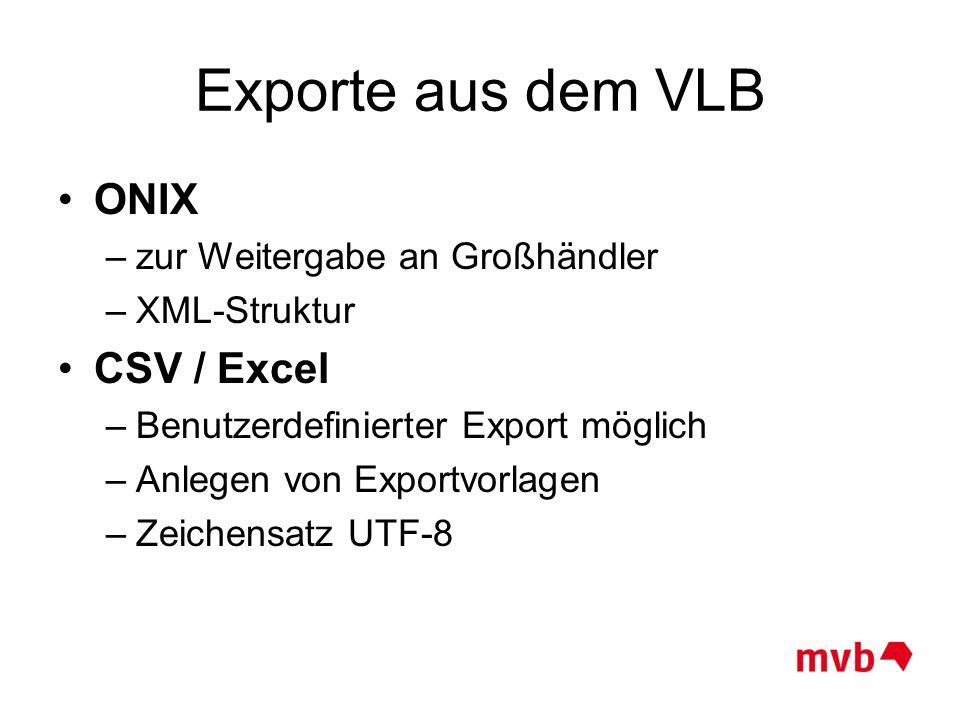 Exporte aus dem VLB ONIX CSV / Excel zur Weitergabe an Großhändler