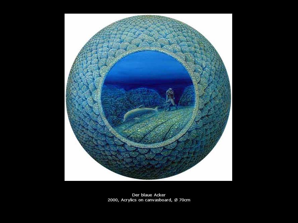 Der blaue Acker 2000, Acrylics on canvasboard, Ø 70cm