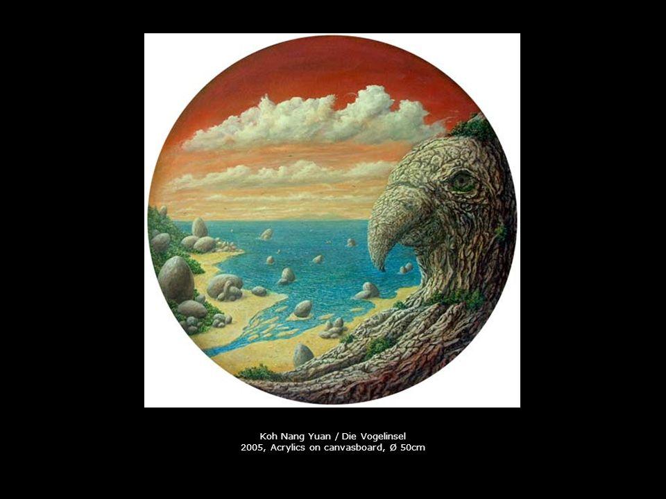 Koh Nang Yuan / Die Vogelinsel 2005, Acrylics on canvasboard, Ø 50cm