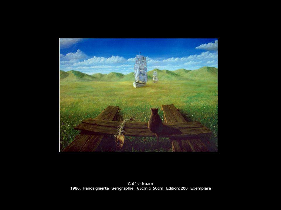 Cat´s dream 1986, Handsignierte Serigraphie, 65cm x 50cm, Edition:200 Exemplare