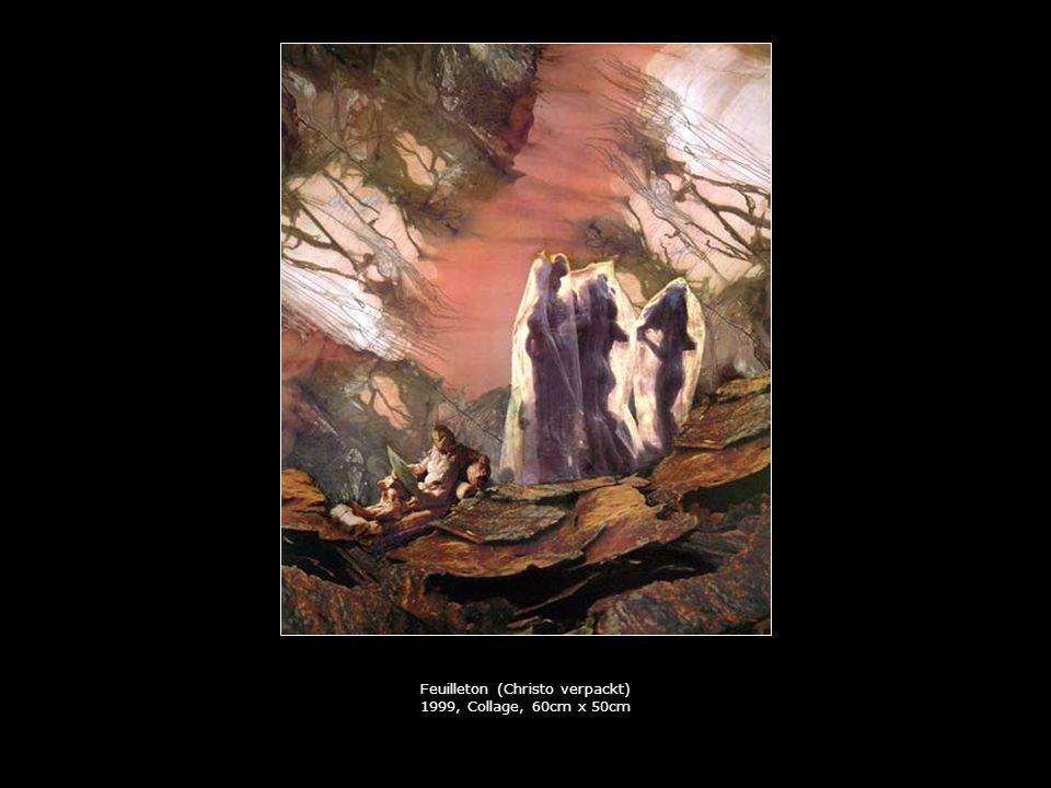 Feuilleton (Christo verpackt) 1999, Collage, 60cm x 50cm