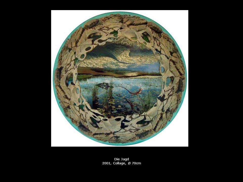 Die Jagd 2001, Collage, Ø 70cm