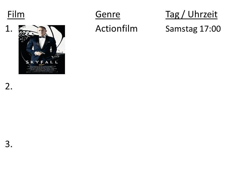 Film Genre Tag / Uhrzeit 1. Actionfilm Samstag 17:00 2. 3.