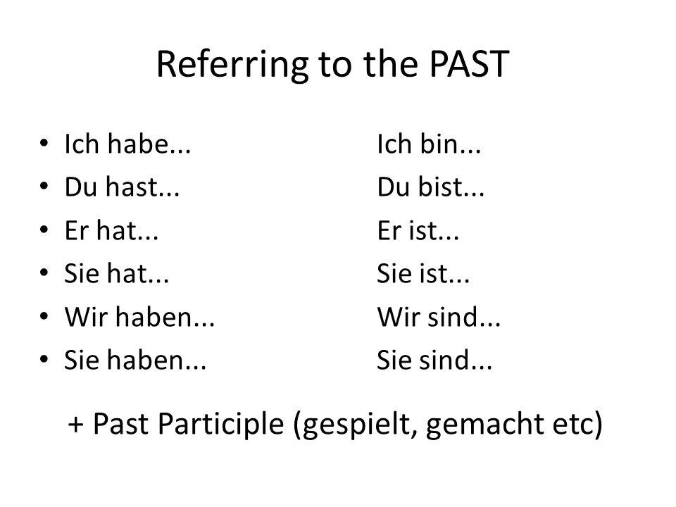 + Past Participle (gespielt, gemacht etc)