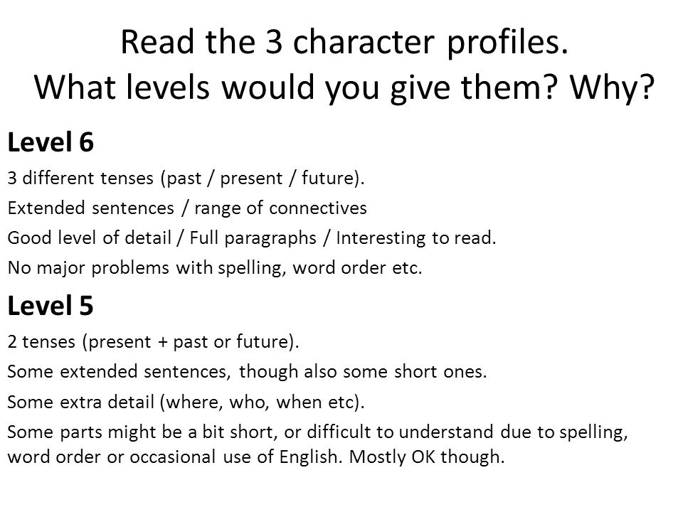 Read the 3 character profiles. What levels would you give them Why