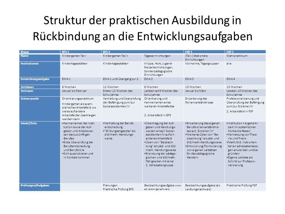 Struktur der praktischen Ausbildung in Rückbindung an die Entwicklungsaufgaben