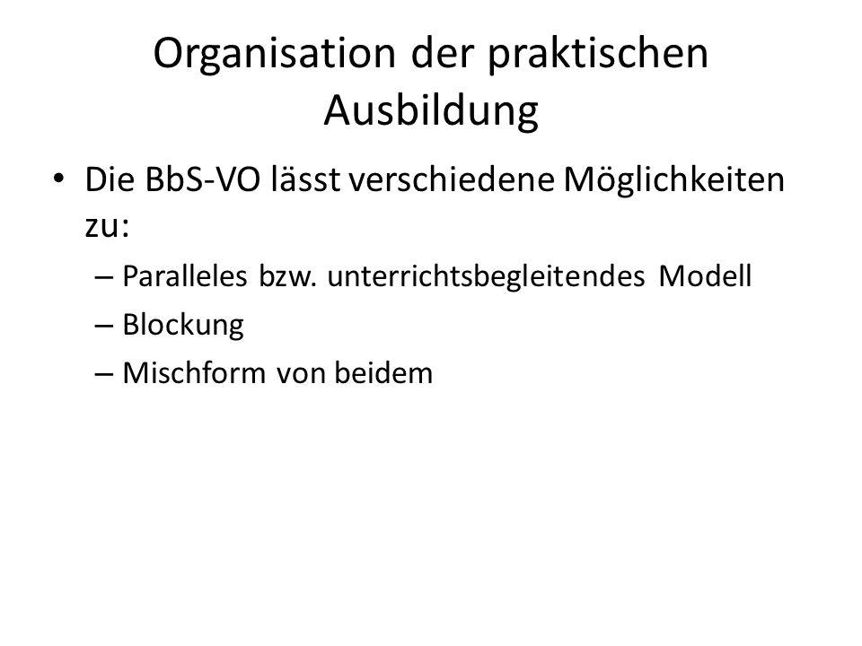 Organisation der praktischen Ausbildung
