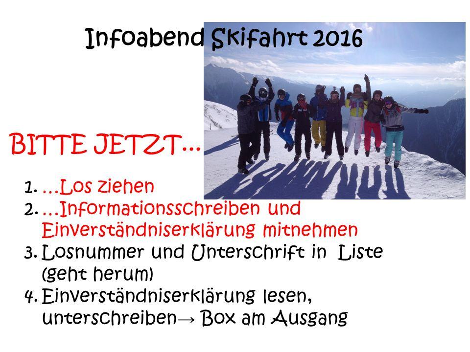 Infoabend Skifahrt 2016 BITTE JETZT... …Los ziehen