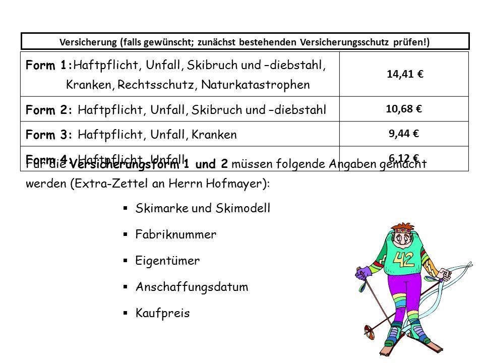 Form 2: Haftpflicht, Unfall, Skibruch und –diebstahl 10,68 €