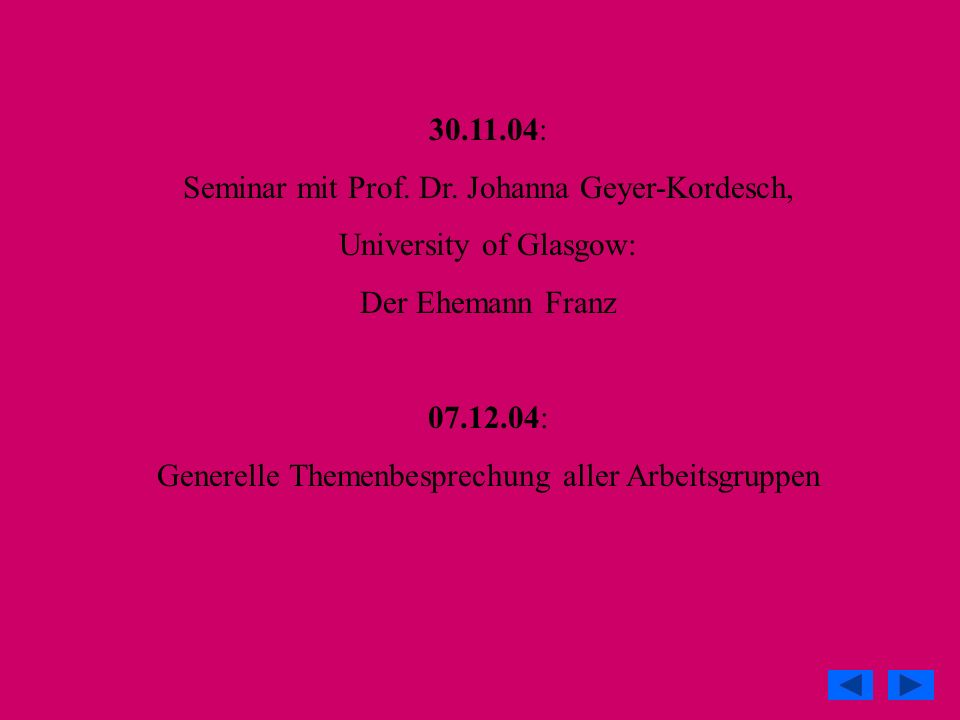 Seminar mit Prof. Dr. Johanna Geyer-Kordesch, University of Glasgow: